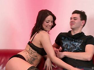 Brunette nympho in stockings Natalie Hot ass fucked hardcore