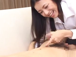 Aino Kishi arousing Asian office lady gets foot licking and cumshot