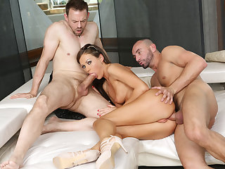 Large-Breasted babe toyed and analed by two cocks