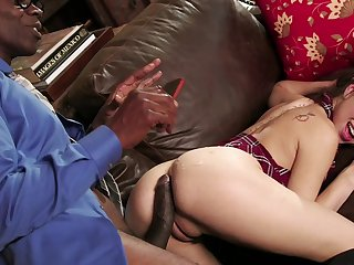 Serious interracial with a monster dick for Riley Reid