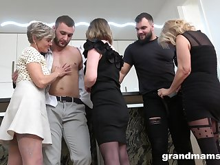 Group sex in the kitchen with mature ladies is unforgettable for those dudes
