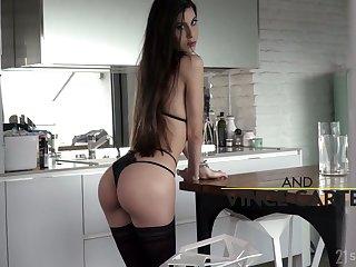 Leggy hottie Anya Krey lets fat boner cock penetrate her anus from behind