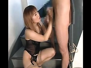 Hot Asian MILF in stockings get bukkaked