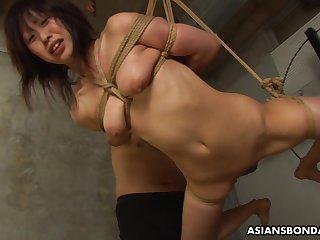 Submissive Asian bimbo Kana Sato gets roped and sucks cock