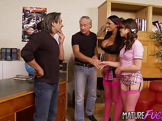 Cute Teen Tiffany Doll and Busty Kerry Louise Fuck Three Old Men