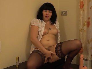 Masturbates and passionately fucks ass girl with hairy pussy