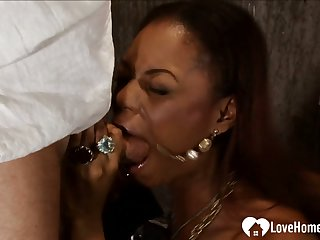 Ebony maid gets her love tunnel plowed