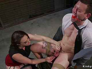 Stunning mistress torments tied up male