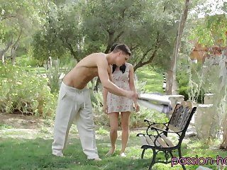 Jenna Ross is leaned against a tree and has her pussy tongued