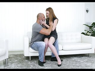 Red haired pierced pussy of Linda Sweet is impaled on a hard big cock