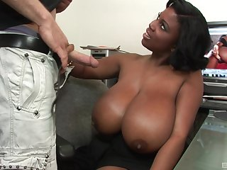 Enormous ebony tits of MILF babe Maserati sprayed with a huge cumshot