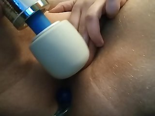 FTM Trans anal beads and Hitachi wand masturbation