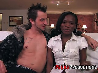 sexy ebony Kayla James gets her pussy fucked by handsome guy