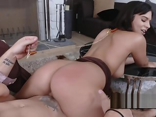Beautiful dancer lures her man into fucking her tight pussy
