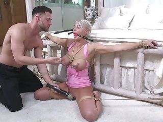 Tied up to bed milf London River gets her mouth and anus rammed by young pervert