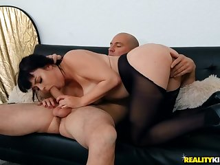 Ripped pantyhose on a curvy hottie riding cock
