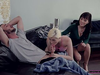 Young dude has the honor to fuck girlfriend and her nasty step mommy Alana Cruise