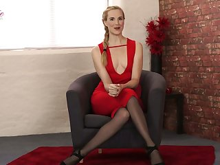 Light haired nympho Ariel Anderssen poses in lingerie and flashes small tits