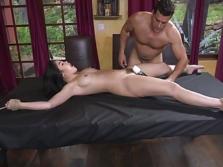 Lewd crucified on the table submissive whore Kendra Spade is fucked hard