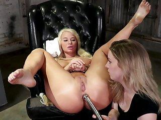 Dominant milf ass fucks blonde bitch in rough femdom