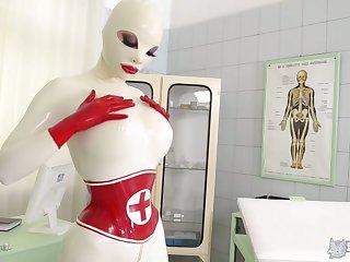 Nurse in latex zipper crotch suit Lucy masturbates pussy and sucks sex toys