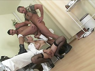 Bi-sexual army men share the dicks with Daria Glower