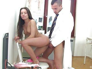 Teen sucks the doctor's dick then fucks with him hard