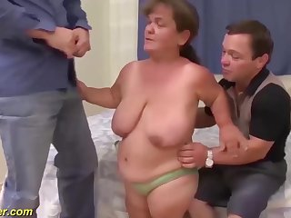 hairy chubby flexible mature midget and her midget husbend in a rough threesome fuck orgy