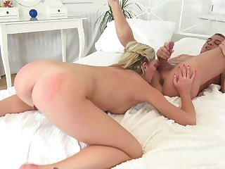 Spanked wife licks her man before another round of anal