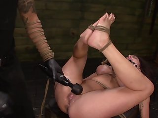 Throating female slave treated by her master with brutality