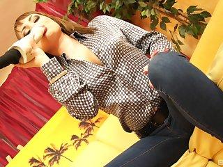 Big boobs European brunette Scarlet Richie solo masturbation