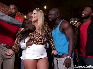Band of horny black guys fucks PAWG Candice Dare and cums on her face