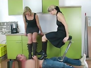 Kitchen boots trampling by 2 angry mistress part 1