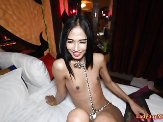 Transsexual gogo dancer Kim gives guy private show after club getting closed.