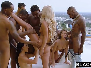 Teanna Trump, Adriana Chechik, And Vicki Chase In A BIG BLACK DICK GANGBANG BY THE POOL
