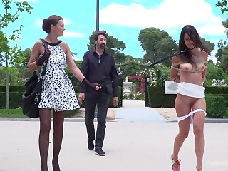 Hot mistress Tina Kay and a horny master walk a beautiful slut on a leash