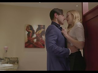 Nerdy blonde girl Alexa Grace seduces dude and gives BJ in the toilet