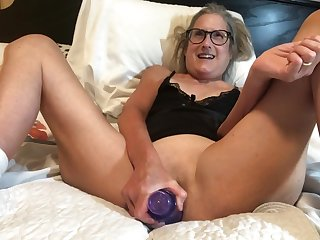 60 Year old Granny Takes 9 Inch Dildo