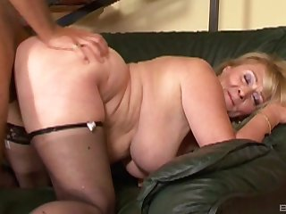 Fat bitch Eva gets fingered and fucked in her trimmed pussy