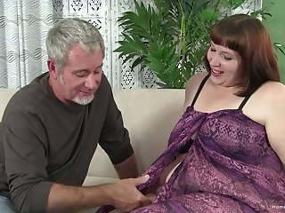 Older guy fucks an amateur brunette plumper