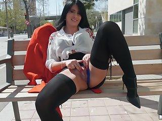 Random brunette flashes pussy and fucks for cash