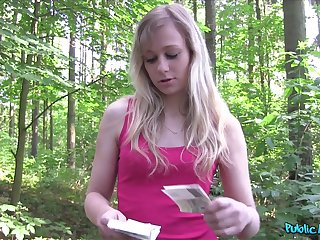 Amateur blonde Czech girl takes money to be fucked in the forest
