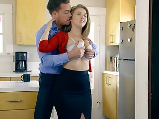 Amazing Caucasian nympho Lena Paul gives a really sensual BJ in the office