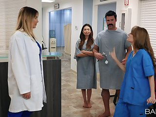 Nurse Kimmy Granger rides a hard cock in the doctors office