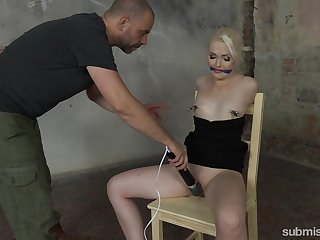 Aroused blonde goes naughty in full male domination BDSM