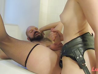 Dominatrix ass fucking her lover with strapon - femdom fetish