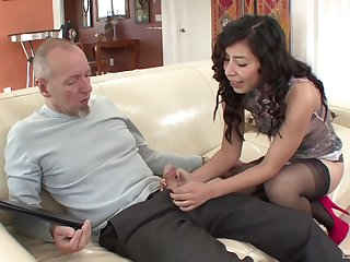 Asian babe spreads for the white cock and hopes for the senior to fuck her good