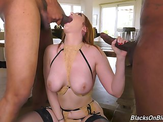 MILF loads two serious BBCs up her glorious holes