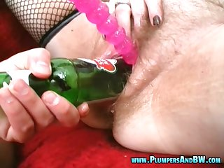 Dirty mature wife Erika C. enjoys having large toys in her old cunt