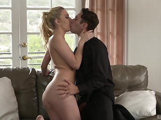 Smooth fucking on the leather sofa with cock hungry Kenna James